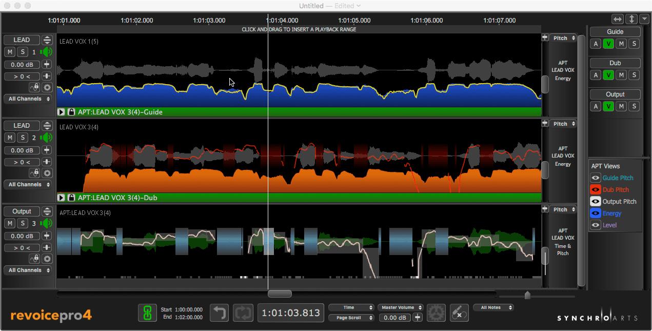 用Revoice Pro 4同时修正多轨音频的时值和音高